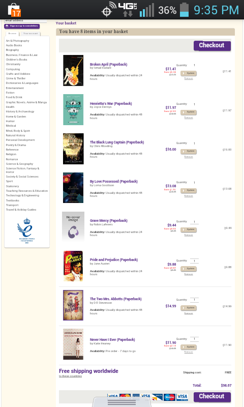 book depository screenshot